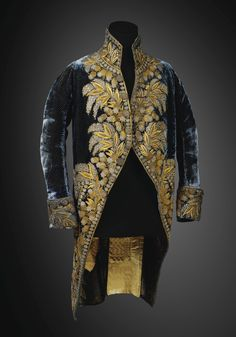 France, Court jacket owned by Maréchal Louis Alexandre Berthier, Prince de Wagram, embroidered blue silk velvet