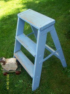 Shabby Cottage Chic baby blue vintage Step Ladder