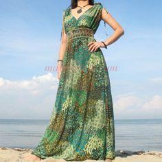 Plus Size Maxi Dresses | ... Plus Size Peacock Boho Formal Extra Long Maxi Dress Wedding Sundress