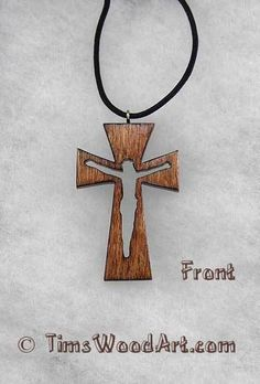 """Crucifix Wood Necklace Adjustable Length to Fit 1/8""""x39"""" Paracord, Item #NC3-12"""