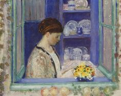 Frieseke at the Kitchen Window Frederick Carl Frieseke (April 1874 – August American Impressionist painter who lived in Normandy France. Whistler, Lawrence Lee, American Impressionism, Impressionist Artists, Social Art, Digital Museum, Collaborative Art, Canvas Signs, Global Art