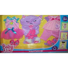 Baby Alive 3 Pack Outfits One Size - Pretty Lil Fashion Set Baby Alive Doll Clothes, Baby Born Clothes, Baby Alive Dolls, Baby Dolls For Kids, Baby Girl Toys, Toys For Girls, Baby Alive Magical Scoops, Muñeca Baby Alive, Cool Fidget Spinners