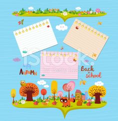 Hello autumn. Design elements for notebook. note papers royalty-free stock vector art