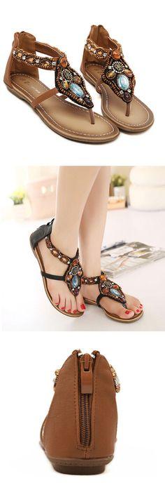 [Visit to Buy] Women Sandals 2016 Fashion Shoes Woman Flip Flops Summer Bohemian Style Zipper Flat Sandals For Ladies Shoes chaussure femme #Advertisement