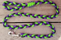 Paracord Dog Leash Flat Braided Rope Dog Lead - Lime Purple & Black by BrodsParacord on Etsy