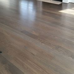A Very Popular Color In The Industry For Us Water Popped White Oak Floor Stained Classic Grey Will Receive Final Coat Once Job Is Complete