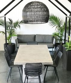A new outdoor table design, with sleek legs and contemporary finish, the Litesto. A new outdoor ta Concrete Outdoor Dining Table, Concrete Backyard, Outdoor Tables, Outdoor Decor, Outdoor Life, Outdoor Landscaping, Outdoor Spaces, Outdoor Furniture Australia, Modern Outdoor Furniture