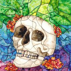 Stained Glass Calavera Giclee by Franclyn on Etsy