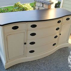 Love the curves & contrast | Antique Bow Front Buffet Makeover