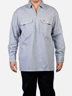 eaeb810c9fa Shirts 175630  Ben Davis Long Sleeve 1 2 Zip Work Shirt Hickory Stripe -   BUY IT NOW ONLY   34.99 on eBay!