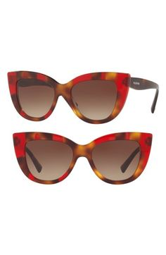 e4a9e48ec19e4 Free shipping and returns on Valentino 51mm Cat Eye Sunglasses at Nordstrom.com.  Rich tortoiseshell patterning highlights the cat-eye silhouette of ...