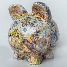 large-piggy-bank-old-world-map-decoupage Etsy lilandjill