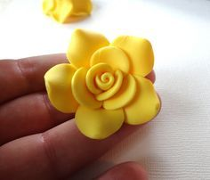 Large LEMON YELLOW Polymer Clay Rose Beads | by teridodson