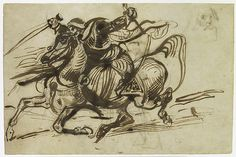 "Eugène Delacroix (French, 1798–1863). The Giaour on Horseback, ca. 1824. The Metropolitan Museum of Art, New York. Promised Gift from the Karen B. Cohen Collection of Eugène Delacroix, in honor of Jane Roberts (L.1998.48.10) | This work is on view in ""Drawings and Prints: Selections from the Permanent Collection"" on view through December 8, 2014. #horses"