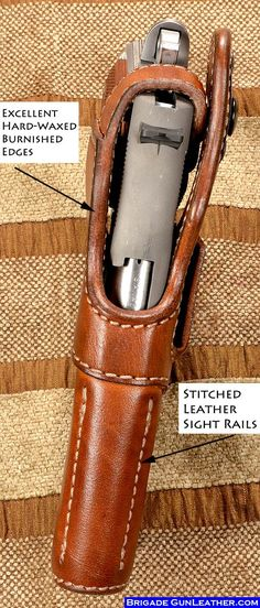 A true custom leather gun holster fitted to your specific pistol Join for his fantastic picture! 1911 Leather Holster, 1911 Holster, Pocket Holster, Pistol Holster, Custom Leather Holsters, Paddle Holster, Western Holsters, Armas Ninja, Gaines