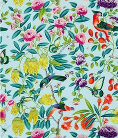 Tekstil 51424: Serendip Turquoise fra Manuel Canovas - Tapetorama