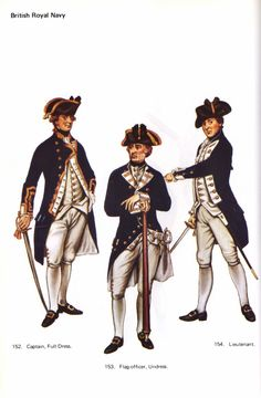 "British Navy - Plates of British Uniforms during the American Revolutionary War, from John Mollo's ""Uniforms of the American Revolution"""