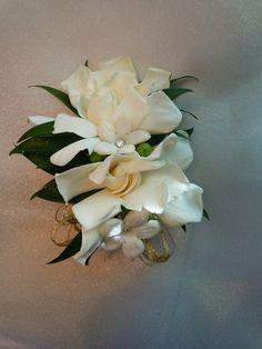 gardenias and stephanotis Wedding Corsages, Gardenias, Boutonnieres, Buttonholes, Succulents, Plants, Design, Succulent Plants