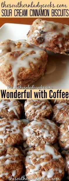 Sour cream cinnamon biscuits are wonderful with your morning coffee or as a snack with milk or tea anytime. My family loves these biscuits for breakfast and they reheat well. skip the raisins) Breakfast Dishes, Breakfast Recipes, Breakfast Ideas, Breakfast Quotes, Breakfast Casserole, Breakfast Biscuits, Breakfast Muffins, Dessert Biscuits, Brunch Quotes