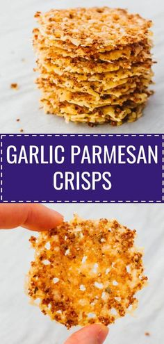 Looking for homemade, healthy snacks? Learn how to make these lovely parmesan crisps, which are a super easy baked appetizer made with freshly grated cheese and garlic powder. For a simple plain version, skip the garlic. Or add your favorite flavors, like Parmesan Chips, Parmesan Cheese Crisps, Grated Cheese, Parmesan Recipes, Garlic Parmesan, Keto Foods, Keto Recipes, Snack Recipes, Healthy Recipes