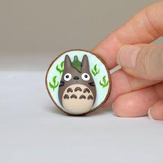 Totoro Brooch Totoro Pin Polymer Clay Totoro minimio