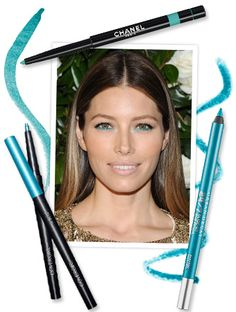 If you need further evidence that rules were meant to be broken, look to Jessica Biel, who brought summery turquoise eyeliner right into the fall season. To create her look, Biel's makeup artist Kara Yoshimoto Bua used Chanel's Waterproof Liner in Jade ($30; chanel.com) along her bottom lashes, and we found two more fabulous versions.