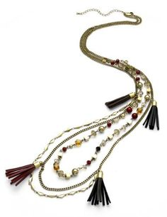 M&S Collection Assorted Bead Tassel Multi-Strand Necklace-Marks & Spencer