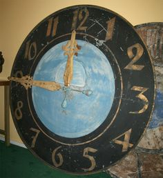 Clock is from a railway station in the north of France, it is painted steel with gilt numbers and hands.