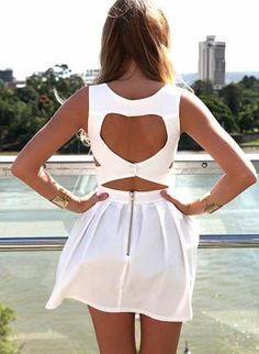 White Heart Cutout Dress with Fitted Bodice  Pleated Skirt,  Dress, heart cutout dress  sleeveless, Casual