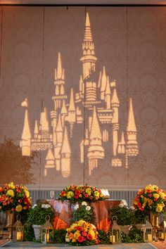 Cinderella Castle gobo light available at Disney Fairy Tale Wedding receptions with the DJ package