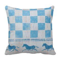 Blue checkerboard horses pillows #bluechecks, #throwpillow, #horses, #stencils, #equestrian