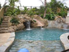 Grotto pool with slide