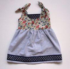 cotton seersucker & floral dress with polkadot trim by supayana. $55.00, via Etsy.