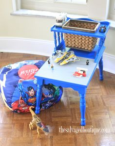 Needs lip around edge. [The Salvaged Boutique upcycles a vintage two-tiered table into a lego table and play area. Lego Play Table, Kids Play Table, Lego Bedroom, Bedroom Kids, Bedroom Furniture, Redoing Furniture, Diy Furniture, Old End Tables, End Table Makeover