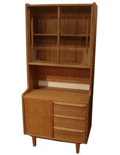 送料無料 北欧風チークカラーのガラスシェルフ80 新品 Scandinavian teak furniture ¥84000円 〆03月26日