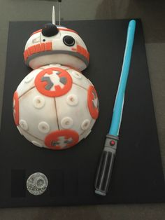 My Friends made me a BB-8 Birthday Cake! Icing Death Star for the 'O' in my name.