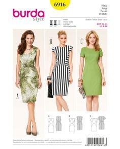 Burda 6916 - Kleider - schnittmuster-shop.ch über 7000 Schnitte!
