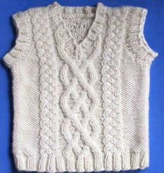 Little Aran Vest: #knit #knitting #free #pattern #freepattern #freeknittingpattern #knittingpattern #littlearanvestpattern