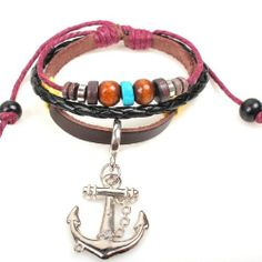 Fashion Lady Retro Anchor Metal Leather Colorful Beads Brown Weave Bracelet Strands Bracelet Suede Rope Bracelet Gift Whatland,http://www.amazon.com/dp/B00J3NQXXS/ref=cm_sw_r_pi_dp_V3dEtb12J41S0HBW