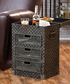 Three-Drawer Metal Side Table #zulily #zulilyfinds