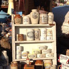 Vintage food jars.... Love! Just saw while shopping the Alameda flea market