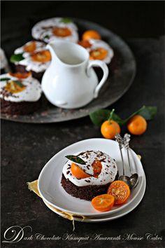 Dark Chocolate Kumquat Amaranth Mousse Cakes - love @Deeba Rajpal's photography!