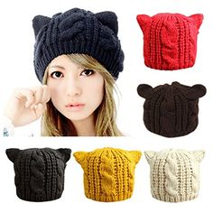 Women Winter Knit Hats CoKate Women Warm Stretch Pom Pom Beanie Caps Black ** You can get more details by clicking on the image. (This is an affiliate link)