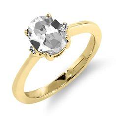 1.63 Ct Oval White Topaz White Diamond 18K Yellow Gold Ring