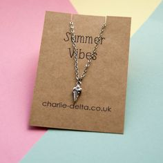 Ice cream necklace  Summer Vibes Collection by CharlieDelta.  Summer necklaces, summer jewellery, holiday necklace, beach jewellery