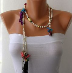 Ivory Pearl Lariat Tassel Wrap Necklace, Tassel Necklace, Necklace - Lariat semi precious gemstones Silk Women Fashion Accessories hand made accessories White Pearl Handmade Beaded Chains Pearl Jewelry, Beaded Jewelry, Boho Jewelry, Handmade Jewelry, Jewelry Design, Women Jewelry, Jewellery, Textile Jewelry, Fabric Jewelry