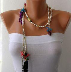 Ivory Pearl Lariat Tassel Wrap Necklace Tassel by mislady