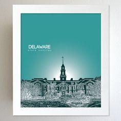 Delaware Skyline State Capitol Landmark - Modern Gift Decor Art Poster 8x10. $20.00, via Etsy.