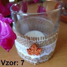 Sklenený svietnik Jarko - Sviečka - S čajovou sviečkou (plus 0,10€), Vzor - Vzor 7