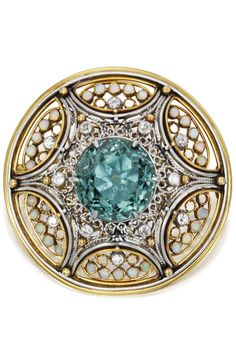 Gold Platinum Tourmaline Opal and Diamond Brooch Tiffany & Co. Designed by Louis Comfort Tiffany with Meta Overbeck - circa Edwardian Jewelry, Antique Jewelry, Vintage Jewelry, Gems Jewelry, Fine Jewelry, Laurel, Louis Comfort Tiffany, Tourmaline Jewelry, Art Nouveau Jewelry